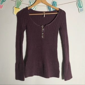 free people | rare purple thermal bell sleeve